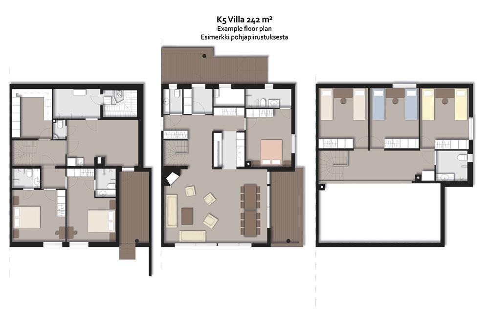 Levin K5 Villas 14 hengen lomahuoneiston pohjapiirros.