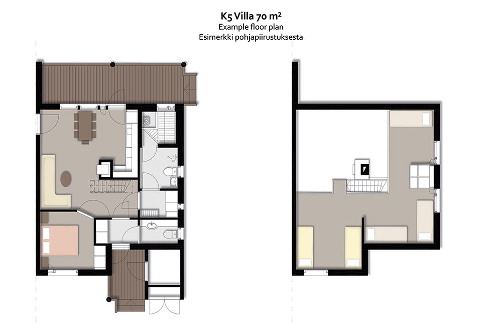 Levin K5 Villas 7 hengen lomahuoneiston pohjapiirros.