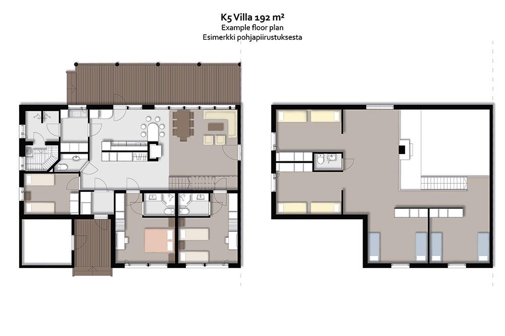 Levin K5 Villas 12 hengen lomahuoneiston pohjapiirros.