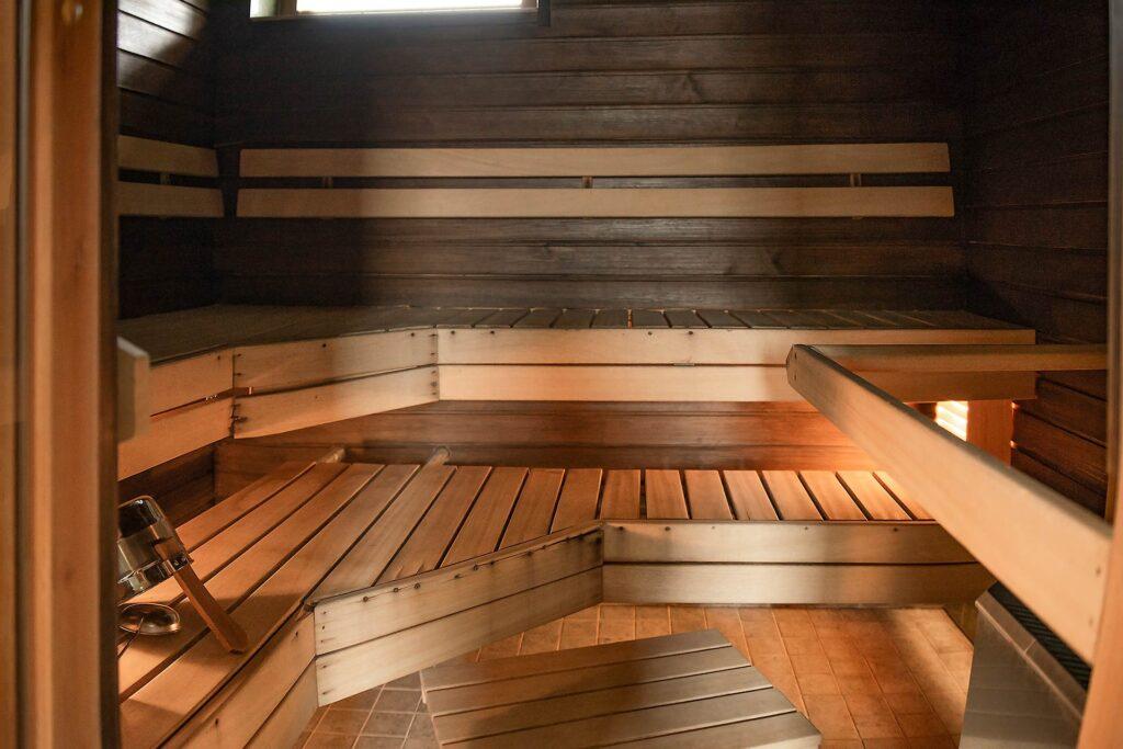 Tilava sauna 14-hengen lomamökissä, K5 Villaksessa Levillä.
