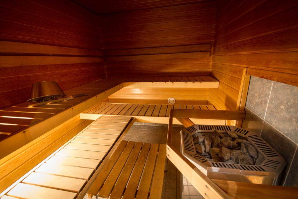 Tilava sauna 12-hengen lomamökissä, K5 Villaksessa Levillä.