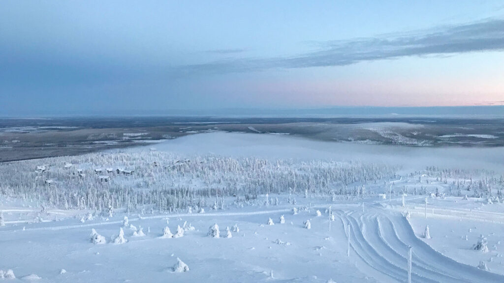 Beautiful view to snowy fells in Levi, Finland.