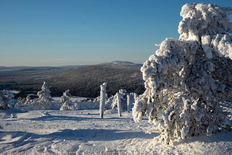 Luminen maisema pääsiäisenä Lapin Levillä.